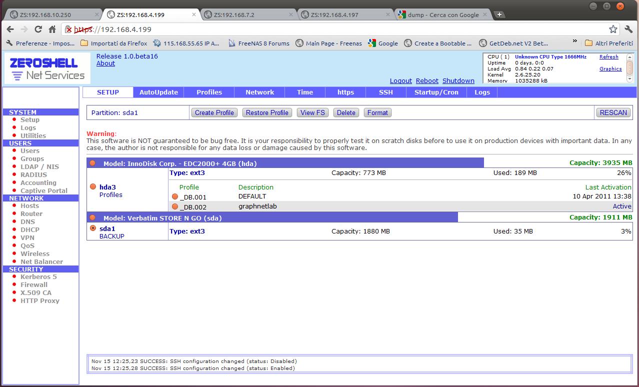 Zeroshell – Backup schedulato della configurazione su usb